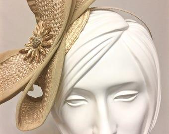 Fancy Straw Kentucky Derby Fascinator, Straw Headband, One of a Kind Headband
