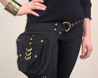 30% Off SALE! Cotton Leg Strap Utility Belt with Pockets -Black