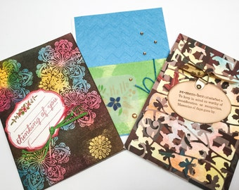 set of handmade cards - thinking of you - remember - Hello - maple leaves -