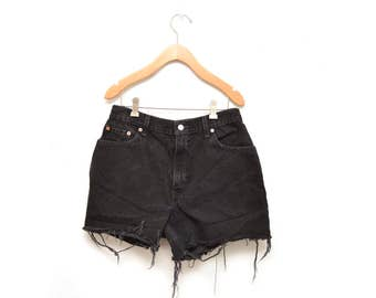 "90s Black Denim Cut Off Shorts High Waisted Women's 30"" Waist Levis"