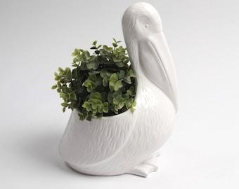 Ceramic Pelican Planter - White Bird Vase - White Faux Taxidermy - Table Top Decor - Pelican Figurine - Ceramic Statue Sculpture