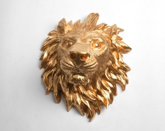 SALE - Faux Taxidermy Lion Head Wall Mount - Gold Resin Lion Head, Faux Animal Head Decor by White Faux Taxidermy
