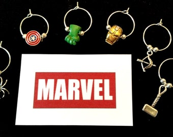 WINE CHARMS AVENGERS and Justice League themed set of 6 with their own message card and organza bag