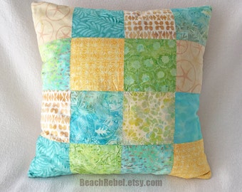 Batik patchwork accent pillow cover in pastel aqua yellow greens ivory and tan 18x18