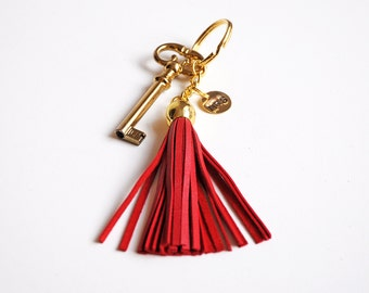 Personalized tassel key chain, Red leather tassel, Many colors