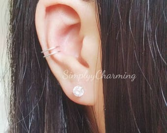 Simple Double Ear Cuff Cartilage Helix Conch Jewelry Clip On Earring, No piercing