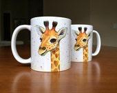 Baby Giraffe Mug, Giraffe Ceramic Mug, Animal Ceramic Mug, Baby Gift, Nursery Art, Baby Animals, Whimsical Animal Gift, Safari Nursery
