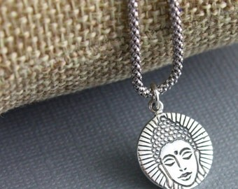 Sterling Silver Buddha Head Charm / Pendant w/ Closed Jump Ring, Spiritual Jewelry Component Finding. (SS/CH2/CR64)