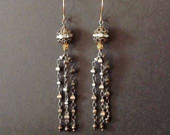 Gunmetal earrings, gunmetal chain, gunmetal and crystal earrings, chain earrings, tassel earrings, earrings tassel