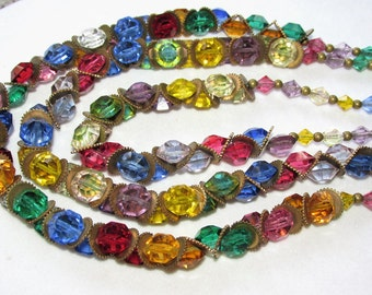 Vintage Art Deco CZECH Triple Strand Multi Color Crystal Necklace Faceted Beads and Watch Gear Brass Spacers 1930s