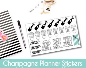 Champagne For Breakfast Planner Stickers - 21 stickers for MAMBI Happy Planners or Erin Condren Life Planner