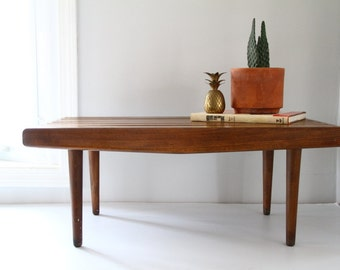 Vintage Walnut Slat Bench/Coffee Table Mid Century Danish