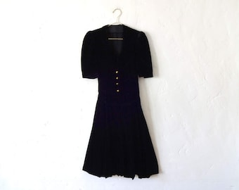 Vintage 1930s Black Velvet Midi Dress with Ruching and Gold Buttons