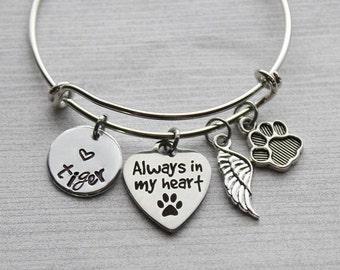 Pet Always in my Heart Bangle Bracelet, Kid's Bracelet, Pet Memorial, Pet Memorial Jewelry, Pet Loss Jewelry, Girls Bangle, Girls Bracelet