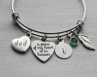 Dad - A Piece Of My Heart Is In Heaven Bracelet, Dad Memorial Gifts, Memorial Gifts, Dad Loss Gifts, Dad Sympathy Gifts, Loss of Father Gift