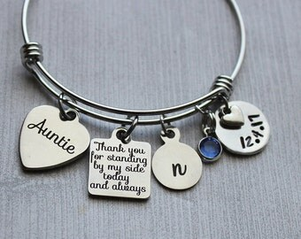Auntie Thank You For Standing By My Side Today And Always Bracelet, Wedding Gifts, Aunt Wedding Gifts, Gifts for Aunt, Aunt Gifts Wedding