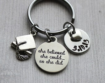 She Believed She Could So She Did Graduation Keychain, Graduation Gifts, Graduation Gift Ideas, Motivational Gifts, Inspirational Gifts