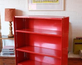 Vintage Red Powder coated Metal Book Shelf