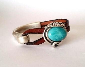 leather bracelet,  women bracelet, silver bracelet, Hook clasp, FOR ENGRAVE, flower bracelet, turquoise bracelet