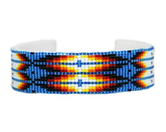 Beaded Feather Blue Cuff Bracelet