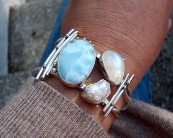 Raw Pearl and Larimar Cuff- Rose cut Moonstone Cuff - Raw Pearl Cuff - Wide Cuff -Boho Cuff - Blue Bracelet- Touch of Sky