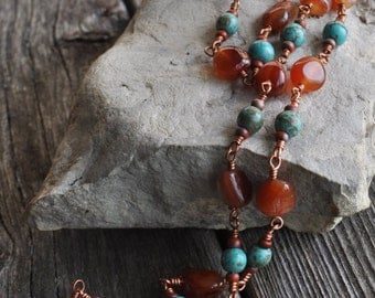 Carnelian & Turquoise Howlite Wire Wrapped Beaded Boho Chain Necklace