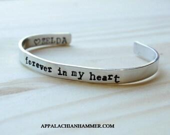 Forever In My Heart - Custom Quote Inside! Skinny Cuff Bracelet