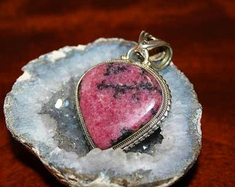 SALE! Vintage Sterling Silver Pink Rhodochrosite Artisan Made Unique Pendant PU1