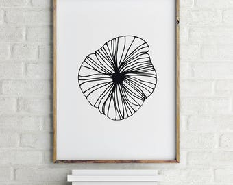 Flower Print, Scandinavian Print, Digital Download Large Downloadable Poster, Black and White, Instant Download, Minimal Design Print