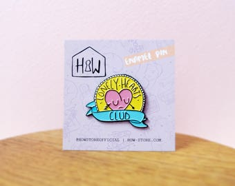 30mm Lonely Hearts Club Enamel Pin Badge: cute illustrated brooch button, hat pin or lapel pin. For you, BFF, or lonely hearts ads!