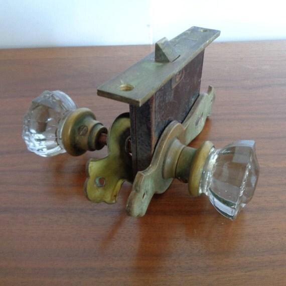 antique glass door knobs with door plates and lock vintage glass door hardware art deco hardware from on etsy studio