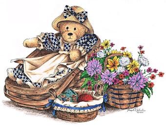 Teddy Bear art print  Vintage Longaberger Baskets  Printable art Nursery Decor Instant Dounload Nusery Wall Art  Country Decor