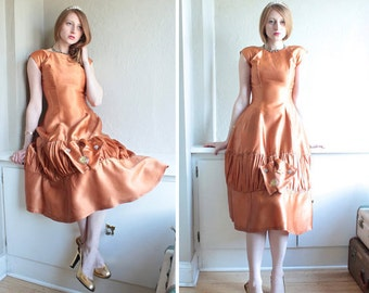 Vintage Pure SATIN DRESS Prom Party COPPER Fit & Flare Formal 40s Retro Bridesmaid Weddings small ladies Midi length frock Flapper Glam Gown