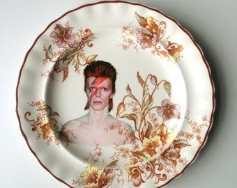 Vintage David Bowie Plate Altered Art aladdin sane