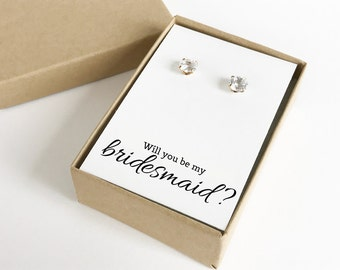Will You Be My Bridesmaid Jewelry Boxes (Earrings not included) | Gift Boxes | Jewelry Boxes | Bridesmaid Gifts