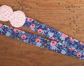 Navy Floral Lanyard - Rifle Paper Co with Pink Gingham Flowers
