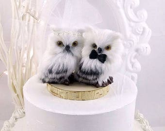 SALE   ooak wedding cake romantic white owls in love wedding  cake topper owl