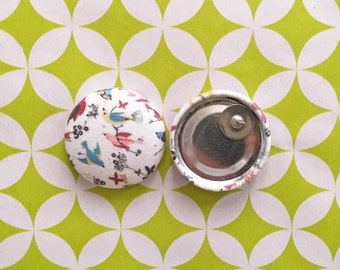 Fabric Covered Button Earrings / Birds / WHOLESALE Jewelry / Bridesmaid Present / Small Stud Earring / Gifts for Her / Handmade in NYC