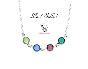Birthstone Necklace Mother Necklace Birthstone Jewelry Crystal Necklace FREE Gift Box Mothers Day Gift Mom Gift Sterling Silver Necklace Mom