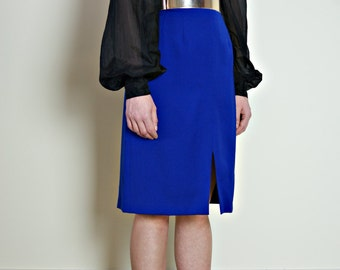 1980s royal blue skirt | pure new wool | vintage pencil skirt | wiggle skirt