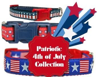 "Patriotic 3/8"" Dog Collar Navy Blue Extra Small Dog Collar"
