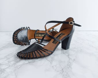 Vintage 70s Leather Black Sandals - 1970s Italian Shoes - Let's Rock Heels