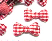 "100pcs x 7/8"" Gingham Cotton Bow Padded/Appliques"