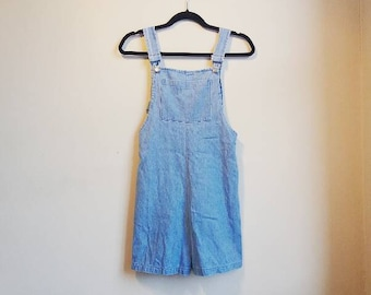 Vintage Denim Dungarees Shorts Light Blue Overalls Women's Small Ladies Retro Playsuit Buckles Pocket Festival Summer Dungarees