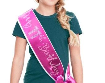My 11th Birthday Party Sash - Happy 11th Birthday Party Border Sash,  Daughter's 11th Birthday Outfit , 11th Birthday Party Sash with Bow,