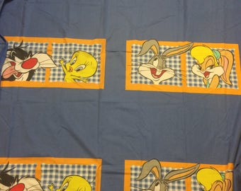 warner brothers character twin sheet tweet sylvester bugs lola bunny blue gingham kids room retro