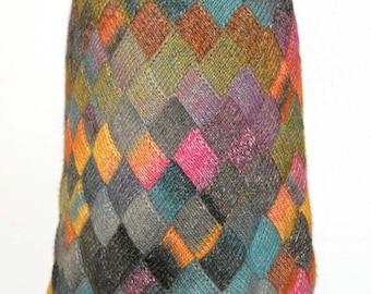 Knit Entrelac skirt - midi skirt - multicolor skirt - women knitwear - wool skirt - knee length skirt - a line skirt - gift for women