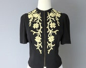 1940s Glamorous Crepe de Chine Blouse/Jacket with Chenille Appliqué, Metal Studs - Small