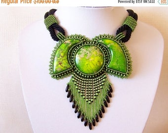 15% SALE Statement Beadwork Bead Embroidery Pendant Necklace - GARDENS OF Paradise - Green Sea Sediment Jasper - green and black necklace