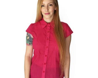 Pink button up shirt, Pink blouse, Fuchsia printed shirt, Women's cotton blouse, Short sleeve button shirt, Summer shirt, Button up blouse